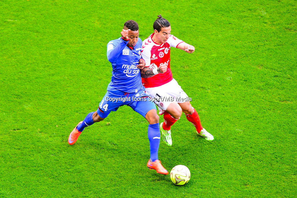 Alassane PLEA / Rodrigues DIEGO RIGONATO - 12.04.2015 - Reims / Nice - 32eme journee de Ligue 1 <br />Photo : Dave Winter / Icon Sport