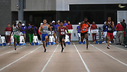 Darien Porter (870) of North Texas, Bryce Kirby (219) of Boise State, Emmanuel Wells (1678) of Washington State, Chris Jefferson (1089) of Sam Houston State and Andrew Hudson (1406) of Texas Tech run in a 100m heat during the NCAA West Track & Field Preliminary, Thursday, May 23, 2019, in Sacramento, Calif.