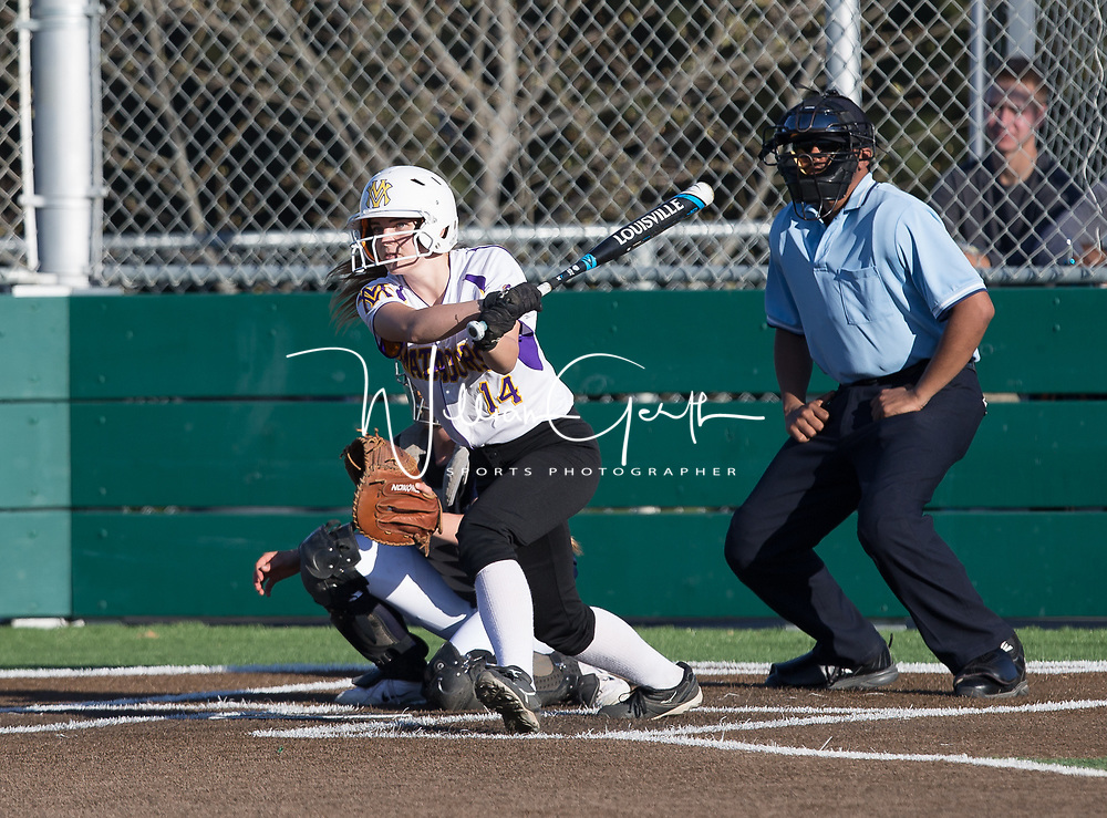 (Photograph by Bill Gerth/ for SVCN/ 3/14/17) Monta Vista #14 Irene McNelis connects for a hit vs Branham in a pre season girls varsity softball game at Monta Vista High School, Cupertino CA on 3/14/17. (Monta Vista 7 Branham 3)