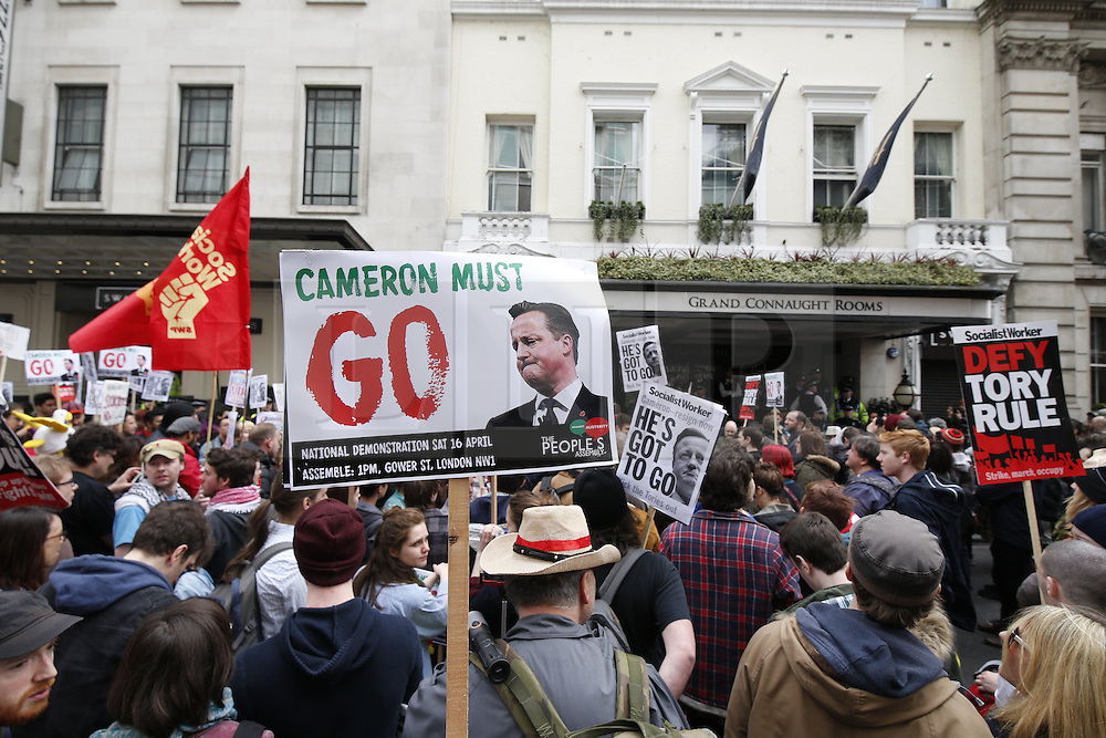 © Licensed to London News Pictures. 09/04/2016. London, UK. Protesters reach The Conservative Spring Conference. Protestors calling for reform of UK tax laws protest. Photo credit: Peter Macdiarmid/LNP