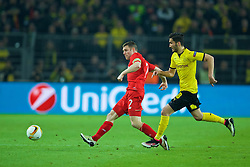 DORTMUND, GERMANY - Thursday, April 7, 2016: Liverpool's James Milner in action against Borussia Dortmund during the UEFA Europa League Quarter-Final 1st Leg match at Westfalenstadion. (Pic by David Rawcliffe/Propaganda)