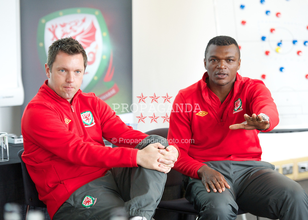 NEWPORT, WALES - Wednesday, May 22, 2013: Jason Blake and Marcel Desailly during the Football Association of Wales' UEFA Pro Licence Course 2013 at Dragon Park. (Pic by David Rawcliffe/Propaganda)