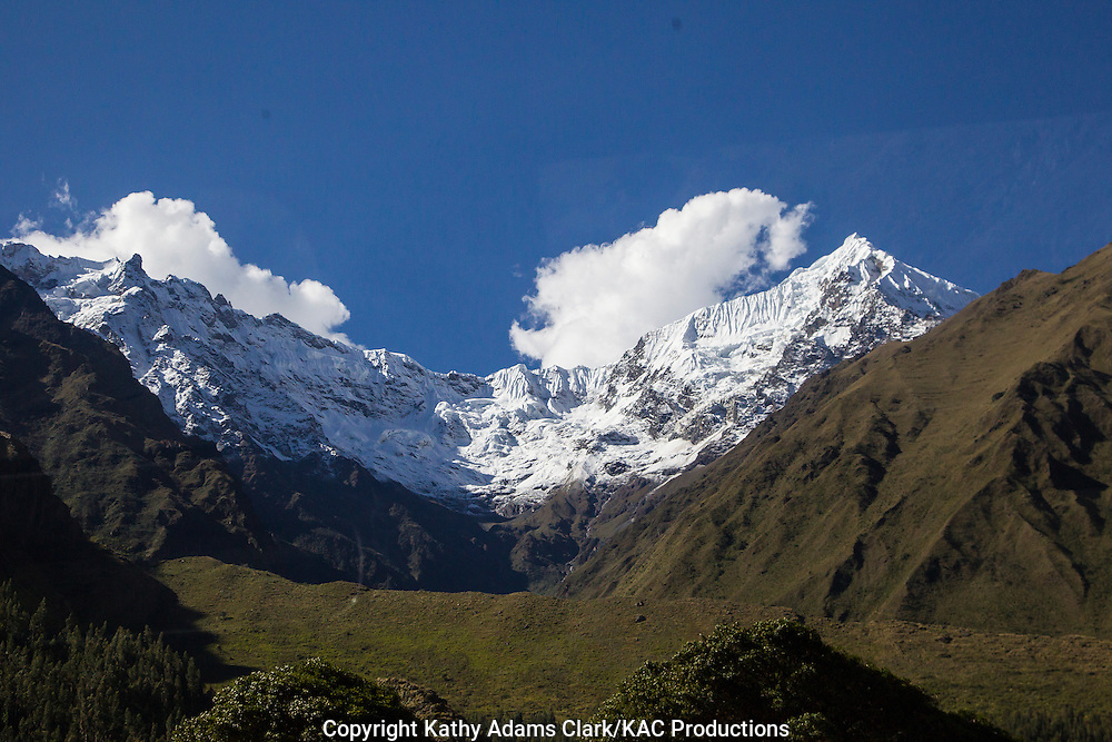 Nevado Veronica, highest peak of the Cordillera Urubamba, 19100 feet, or 5822 meters, covered in glaciers, Peru. Seen from the Urubamba River. Andes Mountains.