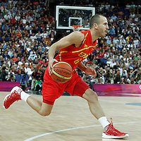 12 August 2012: Spain Sergio Rodriguez dribbles during 107-100 Team USA victory over Team Spain, during the men's Gold Medal Game, at the North Greenwich Arena, in London, Great Britain.