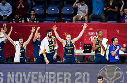Goran Dragic of Slovenia, Edo Muric of Slovenia, Ziga Dimec of Slovenia, Jaka Blazic of Slovenia, Anthony Randolph of Slovenia, Aleksander Sekulic, assistant coach of Slovenia react during basketball match between National Teams of Slovenia and Spain at Day 15 in Semifinal of the FIBA EuroBasket 2017 at Sinan Erdem Dome in Istanbul, Turkey on September 14, 2017. Photo by Vid Ponikvar / Sportida
