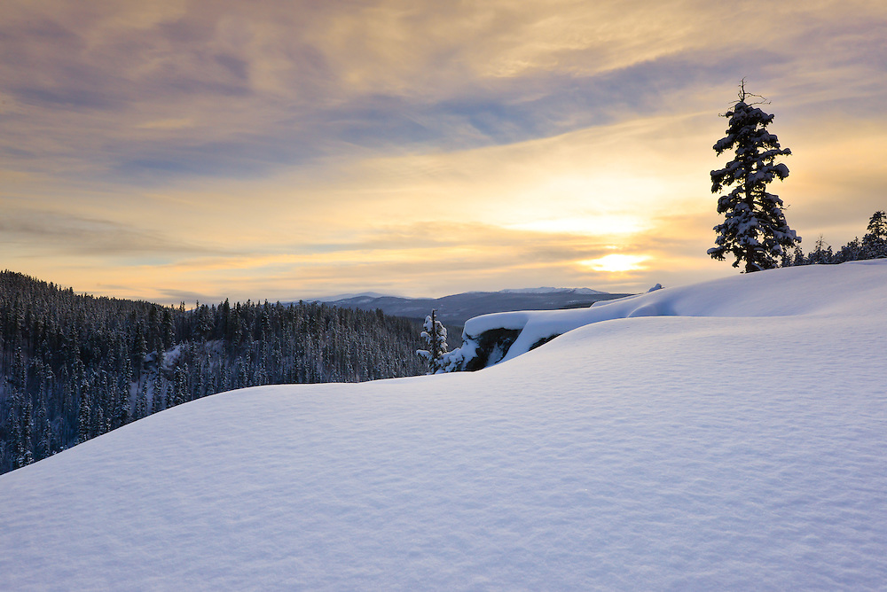 Winter sunset over McIntyre Creek, Yukon