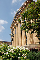 Philadelphia Museum of Art, exterior vertical of columns with flowers..Philadelphia, Pennsylvania, PA USA.  Photo copyright Lee Foster, 510-549-2202, lee@fostertravel.com, www.fostertravel.com.  Photo 207-30920
