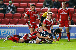 Bristol Rugby Fly-Half Matthew Morgan scores a try as Ulster A Outside Centre Stuart Olding (capt) and Winger Robert Lyttle tackle - Mandatory byline: Rogan Thomson/JMP - 22/01/2016 - RUGBY UNION - Ashton Gate Stadium - Bristol, England - Bristol Rugby v Ulster A - British & Irish Cup.