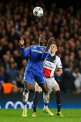 Chelsea Forward Demba Ba (SEN) controls the ball in the air - Photo mandatory by-line: Rogan Thomson/JMP - 07966 386802 - 08/04/2014 - SPORT - FOOTBALL - Stamford Bridge, London - Chelsea v Paris Saint-Germain - UEFA Champions League Quarter-Final Second Leg.