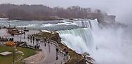 The American Falls on a rainy, foggy winter day at Niagara Falls, New York State, USA