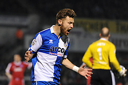 Bristol Rovers' Matt Taylor reacts after being tackled by Aldershot Town's Phil Smith - Photo mandatory by-line: Dougie Allward/JMP - Mobile: 07966 386802 - 20/03/2015 - SPORT - Football - England - Memorial Stadium - Bristol Rovers v Aldershot - Vanarama Football Conference