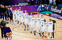 Players of Finland listening to the National anthem during basketball match between National Teams of Finland and Slovenia at Day 3 of the FIBA EuroBasket 2017 at Hartwall Arena in Helsinki, Finland on September 2, 2017. Photo by Vid Ponikvar / Sportida