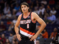 Oct. 12, 2012; Phoenix, AZ, USA; Portland Trail Blazers forward Adam Morrison (6) reacts on the court during the game against the Phoenix Suns at US Airways Center. The Suns defeated the Trail Blazers 104-93.  Mandatory Credit: Jennifer Stewart-US PRESSWIRE.