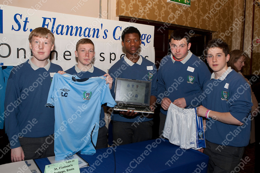 8/3/2012  Attending the Co Enterprise Awards in the West County Hotel last Thursday were Robert Cahill, Fintan O'Toole, Jemil Saidi, Dylan Hanrahan and Brian Guilfoyle students at St Flannan's College with their company Online Sports Shop.<br /> Picture Liam Burke/Press 22