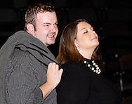 Timothy Behnken (left) and Wendi Williams during a dress rehearsal of Frank's Life at the Dayton Theatre Guild, Thursday, August 26, 2010.