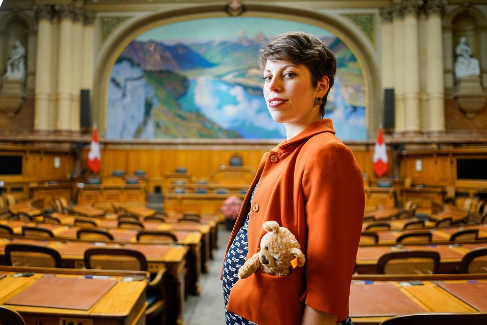 Lisa Mazzone, personnalité politique suisse, conseillère nationale, membre des Verts. Berne février 2019