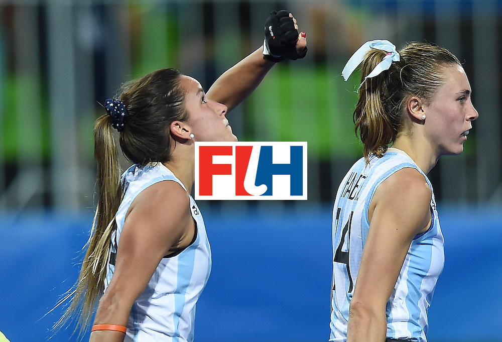 Argentina's Maria Campoy celebrates scoring a goal, before it was disqualified, during the women's field hockey Argentina vs USA match of the Rio 2016 Olympics Games at the Olympic Hockey Centre in Rio de Janeiro on August, 6 2016. / AFP / MANAN VATSYAYANA        (Photo credit should read MANAN VATSYAYANA/AFP/Getty Images)