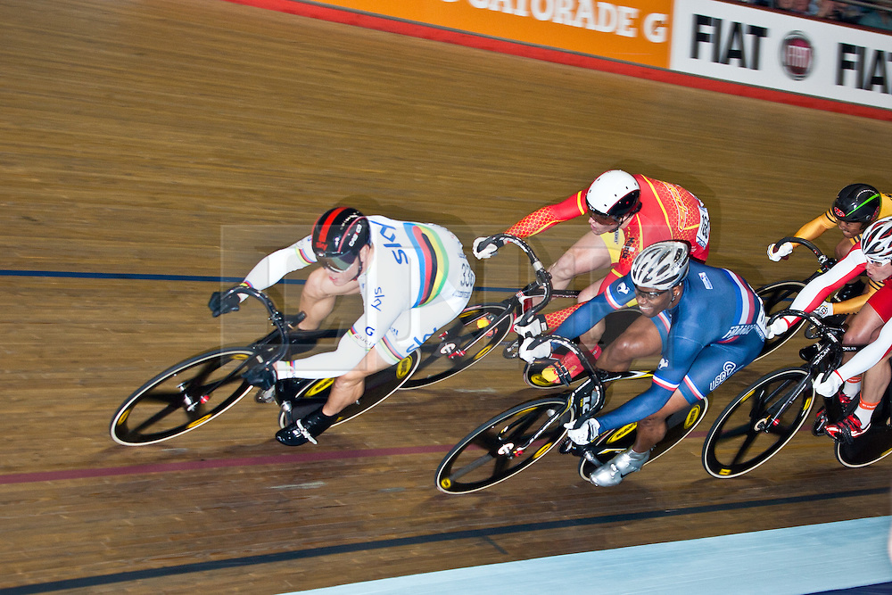 © Licensed to London News Pictures. 19/02/2011. Sir Chris Hoy competes for Team Sky in the Men's Kerin (2nd Round). Hoy won the second round with a good margin. UCI Track Cycling World Cup, Manchester this evening (19/02/2011). Photo credit should read: Reuben Tabner/LNP