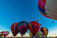 Hot air balloons lifting off from Balloon Fiesta Park around sunrise, Albuquerque International Balloon Fiesta, Albuquerque, New Mexico USA.