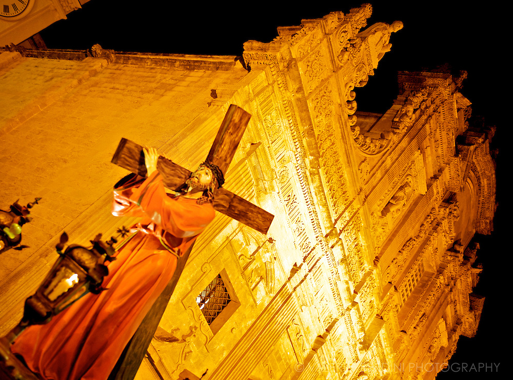 Wooden statues representing the different steps of the passion of the Christ are carried all night from the Cathedral through the alleys of Gallipoli