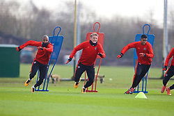 MANCHESTER, ENGLAND - Wednesday, March 16, 2016: Manchester United's Ashley Young, Bastian Schweinsteiger and Marcus Rashford during a training session at Carrington Training Ground ahead of the UEFA Europa League Round of 16 2nd Leg match against Liverpool. (Pic by David Rawcliffe/Propaganda)