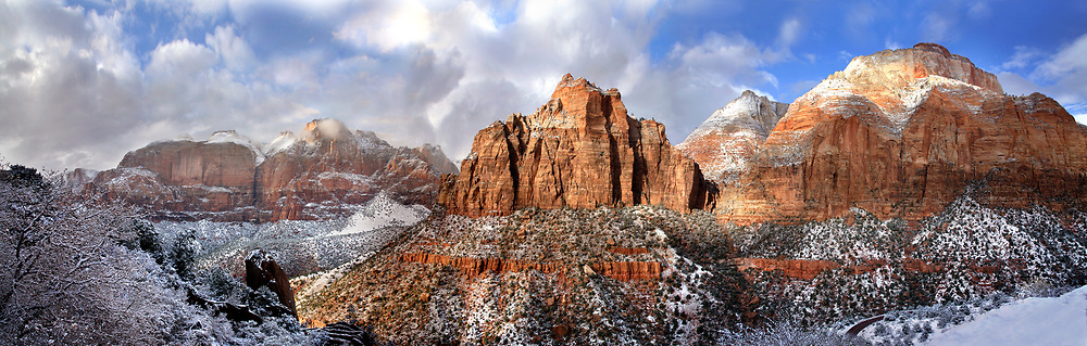 Great Sandstone Peaks In Winter Towering Above The Virgin River Just North Of Springdale Utah In Zion National Park, USA