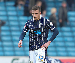 Millwall's Shane Lowry is dejected after his side give away a sot goal at the end, score 2-2 - Photo mandatory by-line: Robin White/JMP - Tel: Mobile: 07966 386802 29/03/2014 - SPORT - FOOTBALL - The Den - Millwall - Millwall v Blackburn Rovers - Sky Bet Championship