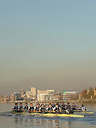 """Putney; Great Britain; Both crews approaching Hammersmith Bridge during the Oxford University Trial Eights; """"between """"""""Shirts and Skins"""". Shirt who went on the win [closest] the trial over the championship course Putney to Mortlake. 12/12/2007 [Mandatory Credit Peter Spurrier/Intersport Images]..OUBC Crews:.Shirts, Bow Robin EJSMOND-FREY, 2. Martin WALSH, 3. Ben SMITH, 4. Oliver MOORE, 5. Andrew WRIGHT, 6. Aaron MARCOVY, 7. Charles COLE, stroke Justin STANGEL and Cox Colin GROSHONG...Skins: Bow Paul KELLY, 2. James SOANE, 3. Michal PLOTKOWIAK, 4. Chris MORRIS, 5. Michael WHERLEY 6. Toby MEDARIS, 7.Jan HERZOG, stroke Will ENGLAND and cox Nick BRODIE,.. Varsity Boat Race, Rowing Course: River Thames, Championship course, Putney to Mortlake 4.25 Miles,"""