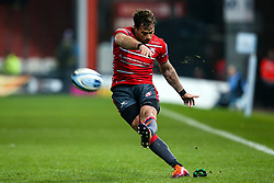 Danny Cipriani of Gloucester Rugby kicks a conversion - Mandatory by-line: Robbie Stephenson/JMP - 16/11/2018 - RUGBY - Kingsholm - Gloucester, England - Gloucester Rugby v Leicester Tigers - Gallagher Premiership Rugby