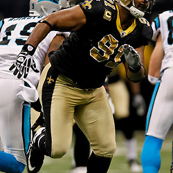 January 1, 2012; New Orleans, LA, USA; New Orleans Saints defensive end Will Smith (91) pass rushes against the Carolina Panthers during the second quarter of a game at the Mercedes-Benz Superdome. Mandatory Credit: Derick E. Hingle-US PRESSWIRE