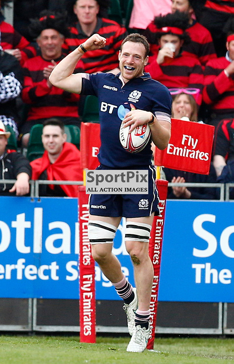 THE EMIRATES AIRLINE RUGBY 7's at SCOTSTOUN STADIUM..Scotland v Portugal.Scott Riddell celebrates after beating Portugal....(c) STEPHEN LAWSON | SportPix.org.uk