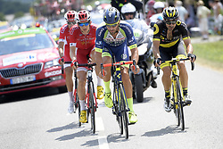 July 10, 2018 - Sarzeau, FRANCE - French Anthony Perez of Cofidis, Belgian Dimitri Claeys of Cofidis, Belgian Guillaume Van Keirsbulck of Wanty-Groupe Gobert and French Jerome Cousin of Direct energie pictured in action during the fourth stage of the 105th edition of the Tour de France cycling race, from La Baule to Sarzeau (195km), in France, Tuesday 10 July 2018. This year's Tour de France takes place from July 7th to July 29th. BELGA PHOTO YORICK JANSENS - FRANCE OUT (Credit Image: © Yorick Jansens/Belga via ZUMA Press)