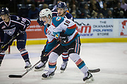 KELOWNA, CANADA - MARCH 04:  Kole Lind #16 of the Kelowna Rockets, Dylan Coghlan #10 of the Tri-City Americans at the Kelowna Rockets game on March 04, 2017 at Prospera Place in Kelowna, British Columbia, Canada.  (Photo By Cindy Rogers/Nyasa Photography,  *** Local Caption ***