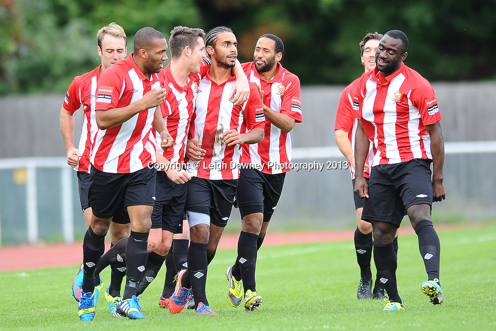 Stefan Payne of AFC Hornchurch celebrates scoring his second goal with team mates. AFC Hornchurch v Wealdstone at The Stadium, Bridge Avenue, Upminster, Essex. FA Cup 3rd Qualifying Round. 12th October 2013. © Leigh Dawney Photography 2013.
