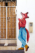 TANGIER, MOROCCO - 26th March 2014 - Street art in the old Tangier medina, Rif region, Northern Morocco