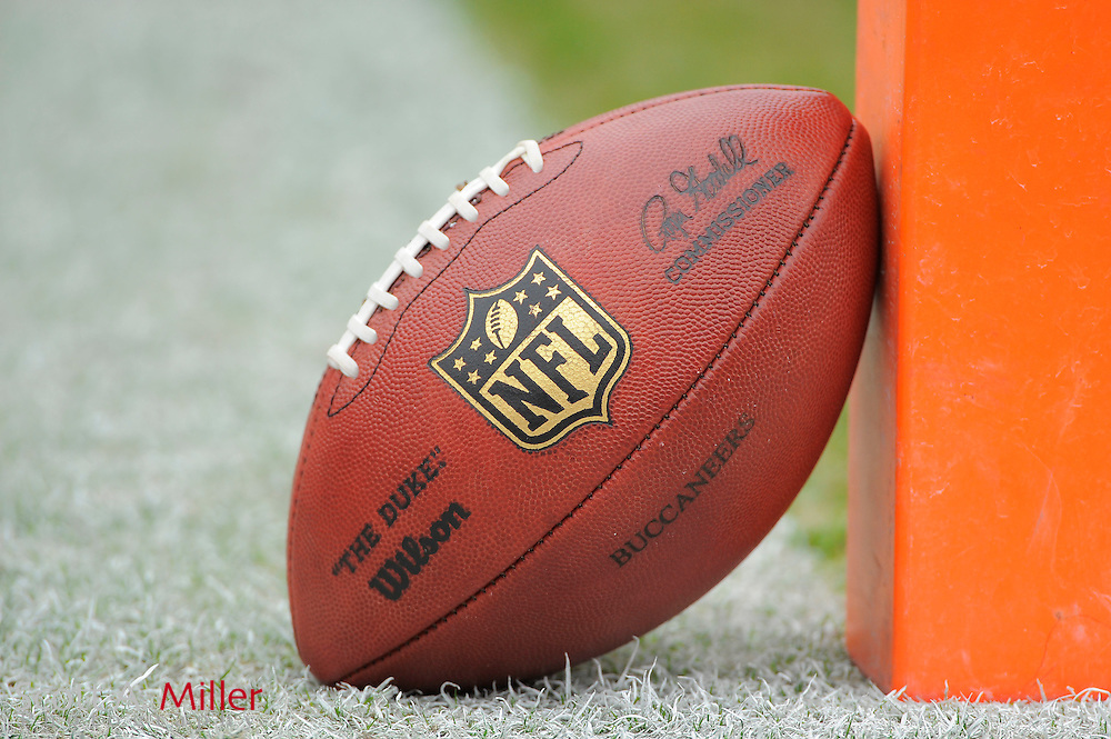 An NFL logo football sits near the goal line during the Detroit Lions vs. Tampa Bay Buccaneers game at Raymond James Stadium on Dec. 19, 2010 in Tampa, Florida...©2010 Scott A. Miller