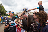 LONDON UK 31ST JULY 2016:  Chris Froome Team Sky (GBr) . The Prudential RideLondon-Surrey Classic  in London 31st July 2016<br /> <br /> Photo: Jon Buckle/Silverhub for Prudential RideLondon<br /> <br /> Prudential RideLondon is the world's greatest festival of cycling, involving 95,000+ cyclists – from Olympic champions to a free family fun ride - riding in events over closed roads in London and Surrey over the weekend of 29th to 31st July 2016. <br /> <br /> See www.PrudentialRideLondon.co.uk for more.<br /> <br /> For further information: media@londonmarathonevents.co.uk