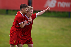 KIRKBY, ENGLAND - Saturday, August 19, 2017: Liverpool's Edvard Sandvik Tagseth celebrates scoring the first goal with team-mate Adam Lewis during an Under-18 FA Premier League match between Liverpool and Blackburn Rovers at the Kirkby Academy. (Pic by David Rawcliffe/Propaganda)
