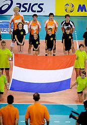 09-07-2010 VOLLEYBAL: WLV NEDERLAND - ZUID KOREA: EINDHOVEN<br /> Nederland verslaat Zuid Korea met 3-1 / Kay van Dijk, Nico Freriks, Jelte Maan en Yannick van Harskamp<br /> ©2010-WWW.FOTOHOOGENDOORN.NL