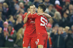 LIVERPOOL, ENGLAND - Wednesday, January 20, 2016: Liverpool's Joao Carlos Teixeira celebrates scoring the third goal against Exeter City with team-mate Brad Smith during the FA Cup 3rd Round Replay match at Anfield. (Pic by David Rawcliffe/Propaganda)