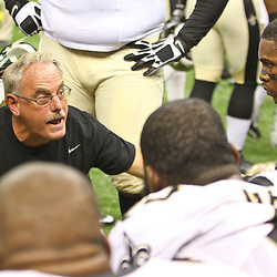 August 17, 2012; New Orleans, LA, USA; New Orleans Saints assistant head coach and linebackers coach Joe Vitt talks to some of his players during the second half of a preseason game against the Jacksonville Jaguars at the Mercedes-Benz Superdome. The Jaguars defeated the Saints 27-24.  Mandatory Credit: Derick E. Hingle-US PRESSWIRE