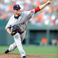 29 June 2009:  Boston Red Sox starting pitcher Jon Lester (31) pitches in the 1st inning against the Baltimore Orioles at Camden Yards in Baltimore, MD.  Lester struck out eight in 7 inning and did not allow a run as the Red Sox defeated the Orioles 4-0.  ****For Editorial Use Only****