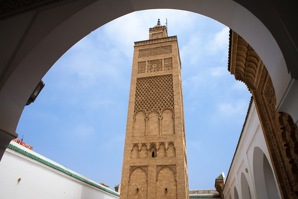 The famous Grande Mosquée (Great Mosque) in the old city of Salé, near Rabat, Morocco. Built in 1333, it's one of the oldest religious establishments in Morocco.