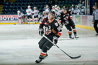 KELOWNA, CANADA, JANUARY 1: Cody Sylvester #16 of the Calgary Hitmen skates on the ice during warm up as the Calgary Hitmen visit the Kelowna Rockets on January 1, 2012 at Prospera Place in Kelowna, British Columbia, Canada (Photo by Marissa Baecker/Getty Images) *** Local Caption ***