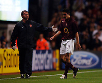 Photo: Henry Browne.<br /> Arsenal v FC Thun. UEFA Champions League.<br /> 14/09/2005.<br /> Robin Van Persie does the walk of shame after he's sent off.