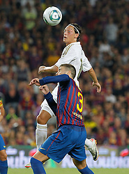 17.08.2011, Camp Nou, Barcelona, ESP, Supercup 2011, FC Barcelona vs Real Madrid, im Bild FC Barcelona's Gerard Pique (d) and Real Madrid's Mesut Ozil during Spanish Supercup 2nd match.August 17,2011. EXPA Pictures © 2011, PhotoCredit: EXPA/ Alterphotos/ Acero +++++ ATTENTION - OUT OF SPAIN / ESP +++++