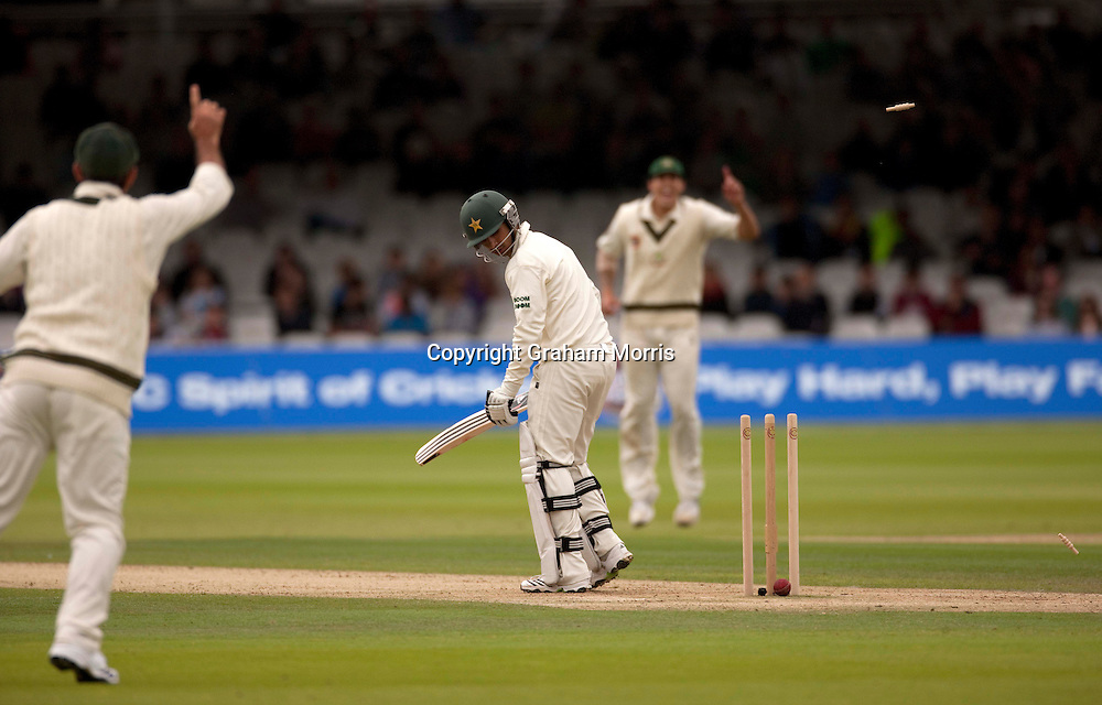 Salman Butt is bowled by Shane Watson during the MCC Spirit of Cricket Test Match between Pakistan and Australia at Lord's.  Photo: Graham Morris (Tel: +44(0)20 8969 4192 Email: sales@cricketpix.com) 14/07/10