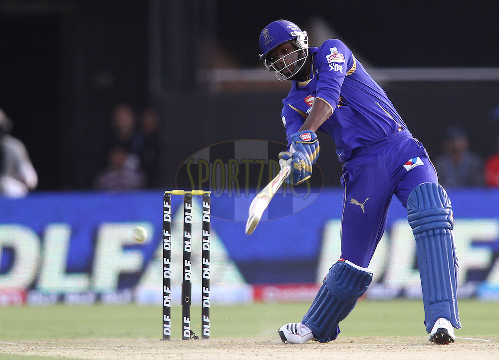 Kevon Cooper of the Rajasthan Royals attacks a delivery during match 7 of the the Indian Premier League ( IPL) 2012  between The Rajasthan Royals and the Kolkata Knight Riders held at the Sawai Mansingh Stadium in Jaipur on the 8th April 2012..Photo by Shaun Roy/IPL/SPORTZPICS