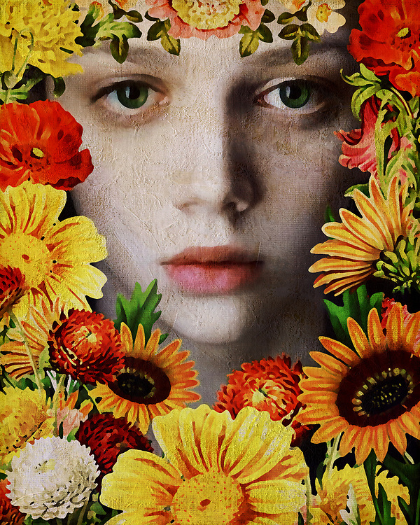 There is an otherworldly quality to this fine art release from Jan Keteleer. The first thing that commands our attention here would be the eyes of the young girl, surrounded by gorgeous flowers. There is always going to be something that can be said for the depth of a human being's eyes. One could even go so far as to say they represent a window into the soul. Certainly, that is something that you are going to keep in mind, as you also take in the summer flowers that surround her. This is a bold combination of flora and artistic color.<br />