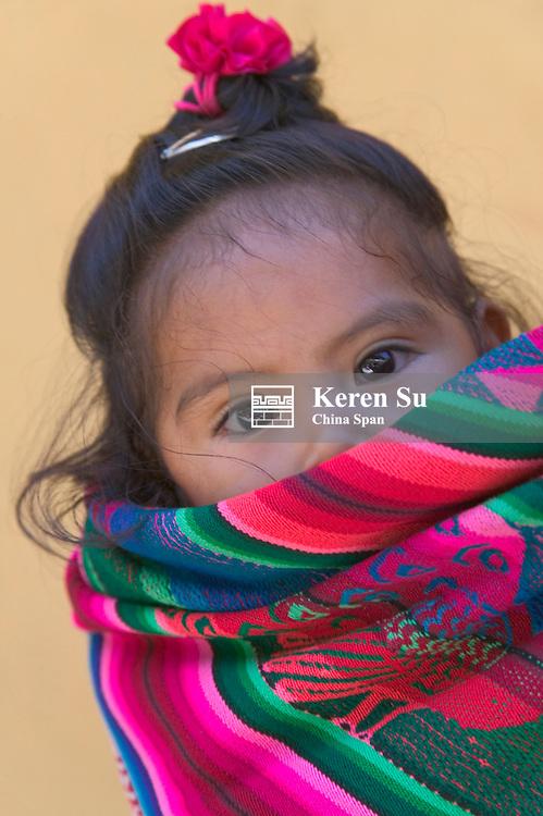 Portrait of a little Indian girl, Peru